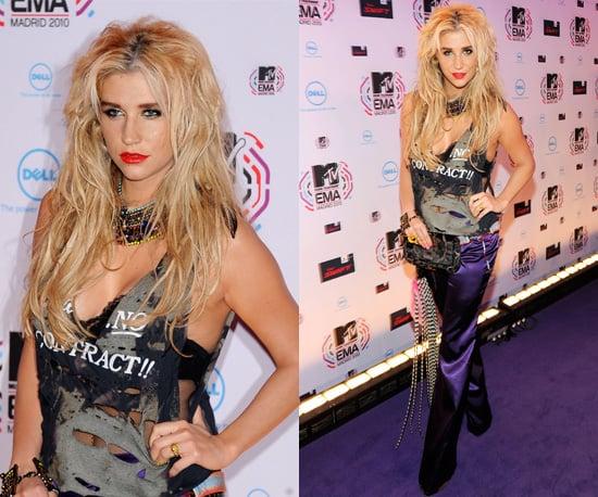 Photos of Ke$ha at the 2010 MTV Europe Music Awards in Madrid