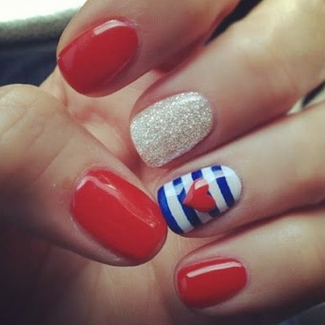 Red White And Blue Best Spring 2014 Nail Art Of Instagram