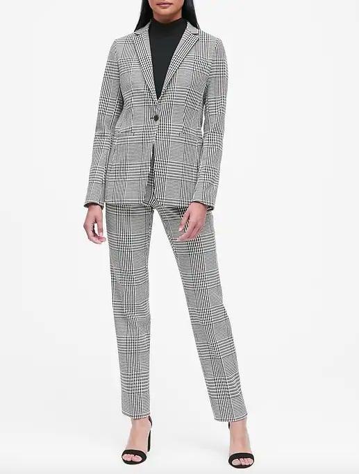 Long and Lean-Fit Plaid Blazer