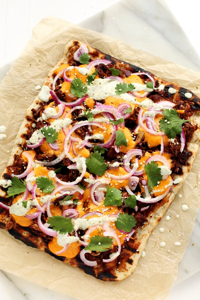 Grilled Vegan BBQ Jackfruit Pizza With Hemp Seed Cheddar