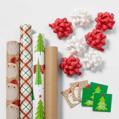 Red & Green Kraft Gift Wrap Pack