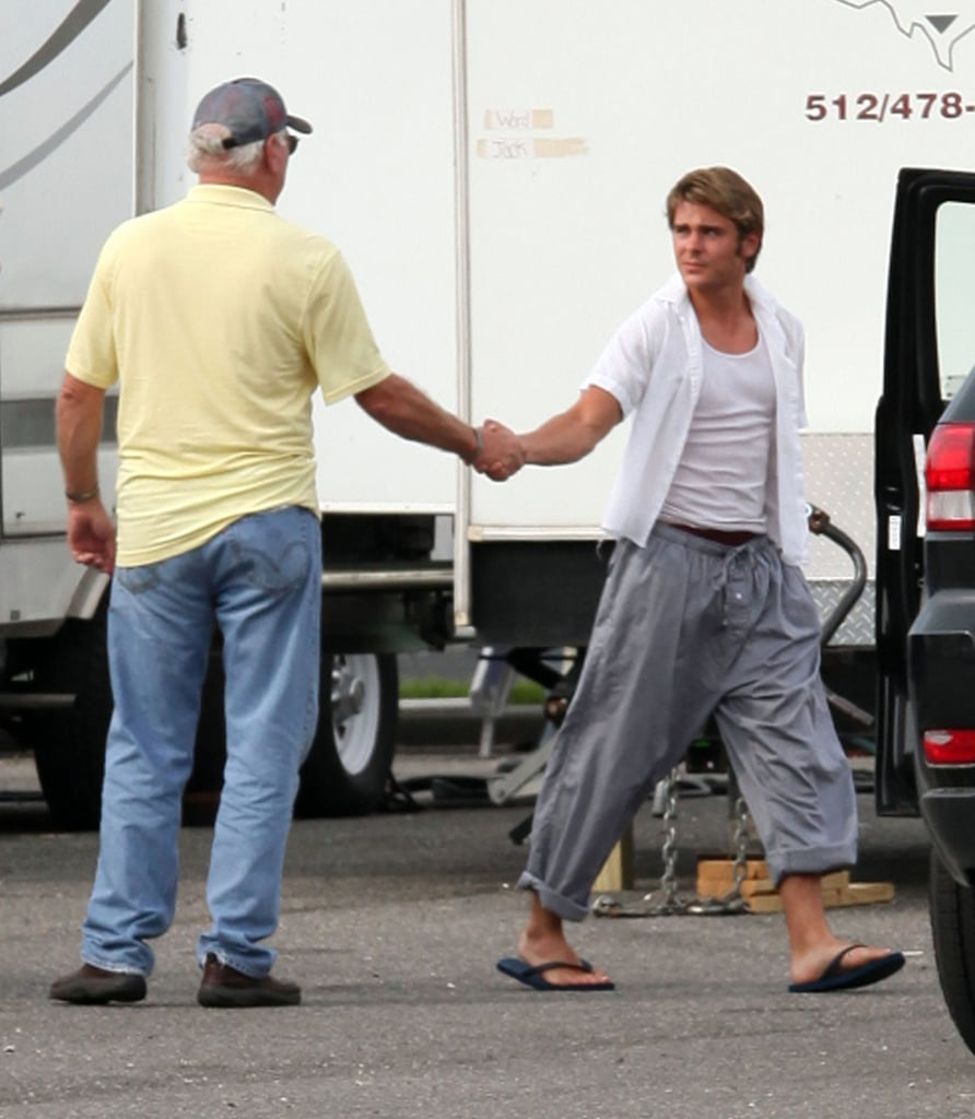 Zac Efron showed off his lightened locks on the New Orleans set of The Paperboy yesterday. Both Zac and costar Nicole Kidman both went blond for their roles in the ensemble film, which also costars Matthew McConaughey and Tobey Maguire. Zac has been going straight from one project to the next this Summer, with only a short break between shooting Heartland in the Midwest and heading south for The Paperboy. Luckily for us, he's still able to keep up his fitness routine and hit the beach from time to time to show off those famous Zac Efron abs. Zac's ripped six-pack should serve him well in our annual shirtless bracket, which kicks off next week on PopSugar!