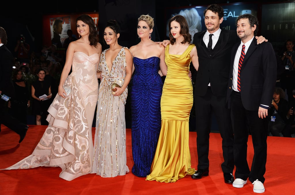 The cast of Spring Breakers got the Venice Film Festival all-star treatment tonight at their red-carpet premiere. Selena Gomez, in custom Versace Atelier and Lorraine Schwartz jewels, and Vanessa Hudgens both chose champagne tones, while Ashley Benson stepped out in a bold blue hue from Alberta Ferretti. Director Harmony Korine arrived with his wife, Rachel, who wore a beautiful gold gown, and posed for photos with James Franco and the entire cast prior to the screening. A few of the stars are packing up in the upcoming days and heading to Canada, where they're expected to share the flick with North American audiences on Friday at this year's TIFF.  Selena has a full roster on her hands while visiting Toronto. In addition to promoting Spring Breakers, she'll also be chatting with press about her forthcoming animated feature, Hotel Transylvania, due out Sept. 28. We'll be reporting live from Toronto, so be sure to follow us on Twitter and Instagram for the latest news and photos from the film festival!