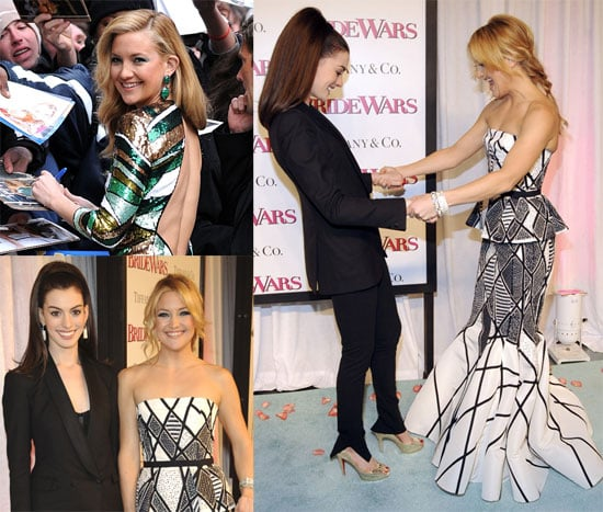 Photos of Kate Hudson and Anne Hathaway at Bride Wars Premiere, Video of Kate on The Late Show