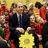 Prince William posed for a picture with the kids at Birmingham Library.