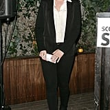 Scarlett Johansson looked sophisticated in a black pantsuit and silk shirt at a party she hosted for Scott Stringer, a family friend and 2013 mayoral candidate.