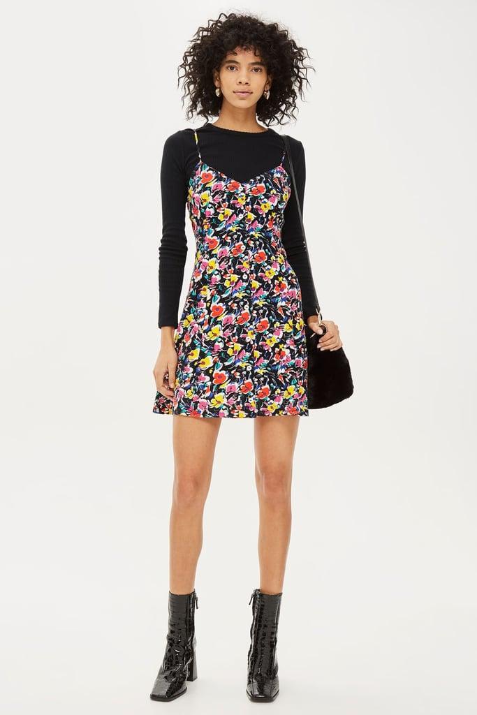 Topshop Ditsy Button Mini Slip Dress