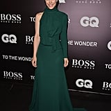 Always one to take a risk on the red carpet, Rachel went for it in this avant-garde hunter-green Elie Saab dress at the Toronto Film Festival.