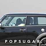 Kristen Stewart and Rupert Sanders pulled over in her Mini Cooper.
