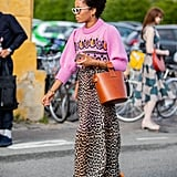 Fall Outfit Idea: Pink Sweater + Leopard Skirt