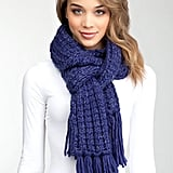We love the cobalt-blue hue on this cozy Bebe Monica Chunky Fringe Scarf ($39).