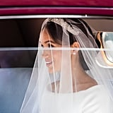Meghan's veil was held in place by Queen Mary's bandeau tiara, which she was lent by Queen Elizabeth herself.