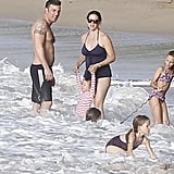 Jennifer Garner and Ben Affleck swam with their kids during a beach day in Puerto Rico in July.