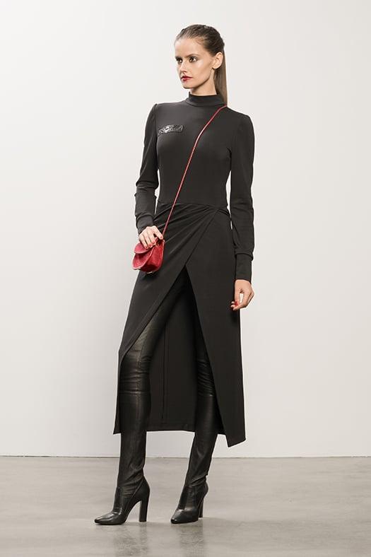Long Black Jersey Dress With Snakeskin, Sweet Revenge Black Leather Legging Boot, TM Enjoy Red Suede Cross Body Bag. Photo courtesy of Tamara Mellon