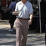 Ryan Gosling carried a plate of food on a break from The Gangster Squad.