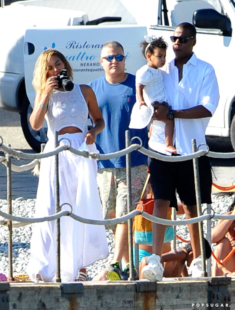 Beyoncé and Jay Z boarded a yacht with their daughter, Blue Carter, along the Amalfi coast in Italy.
