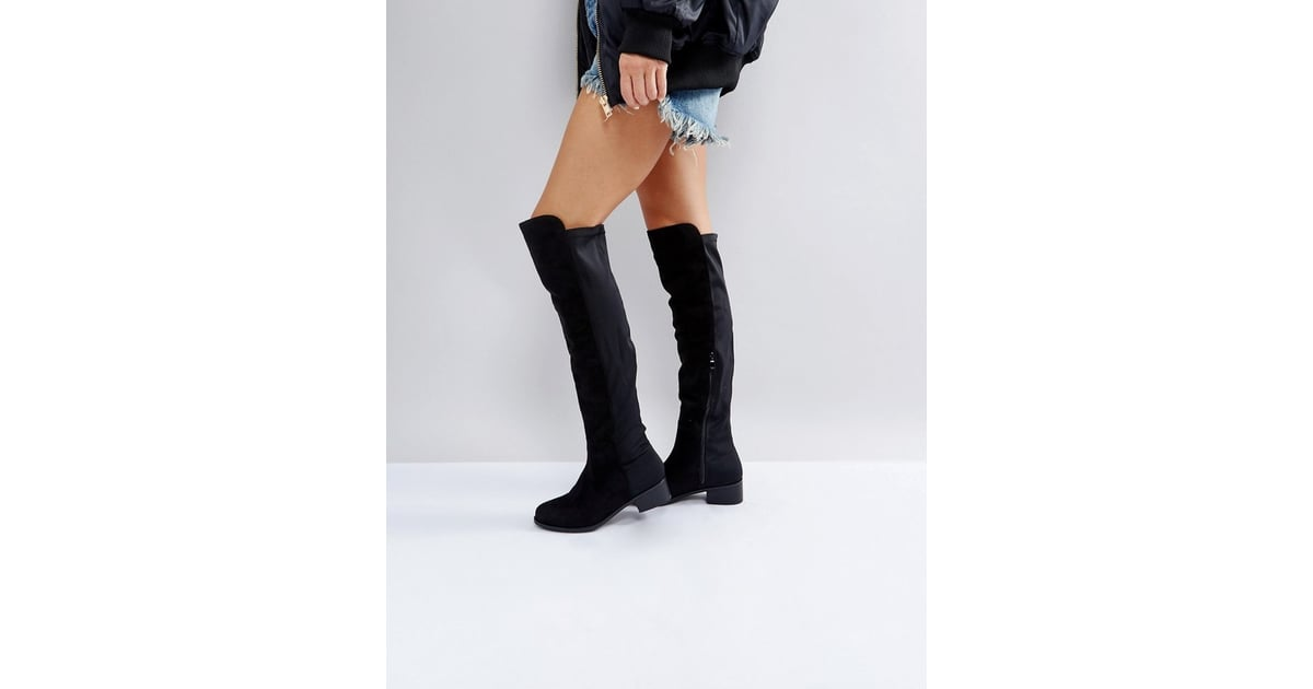 f67b1be5cca Truffle Collection Elastic Flat Over-Knee Boots