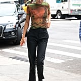 Kendall Rocking a Sheer Tee and Trousers