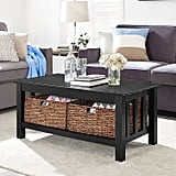 Black Wood Coffee Table With Storage Baskets