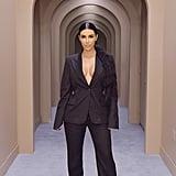 Kim Kardashian Pinstripe Suit at KKW Beauty Pop-Up Shop 2018