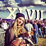 Candice Swanepoel brought a dog to the Super Bowl in New Orleans in January 2013. Source: Instagram user angelcandices