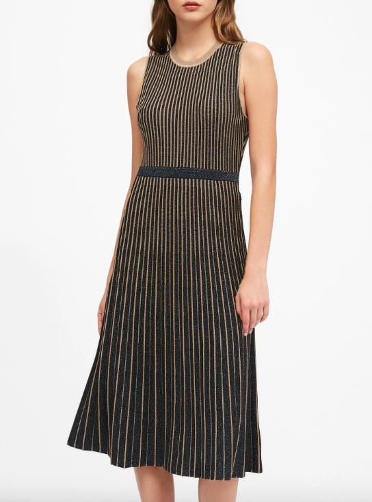 Petite Metallic Stripe Sweater Dress