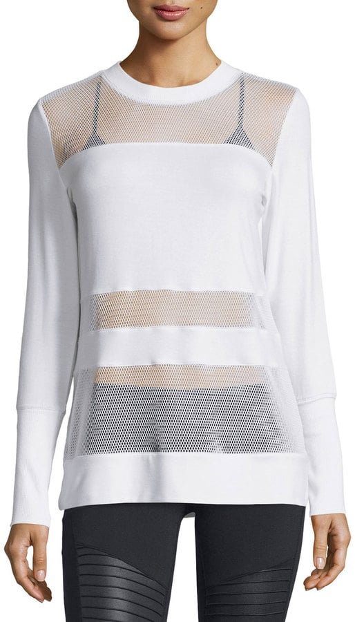 Alo Yoga Plank Mesh-Panel Long-Sleeve Top