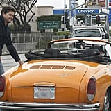 Joshua Jackson smiled while pushing his car down the street after it broke down in LA.