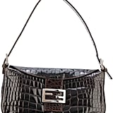 Fendi Brown Crocodile Baguette Shoulder Bag