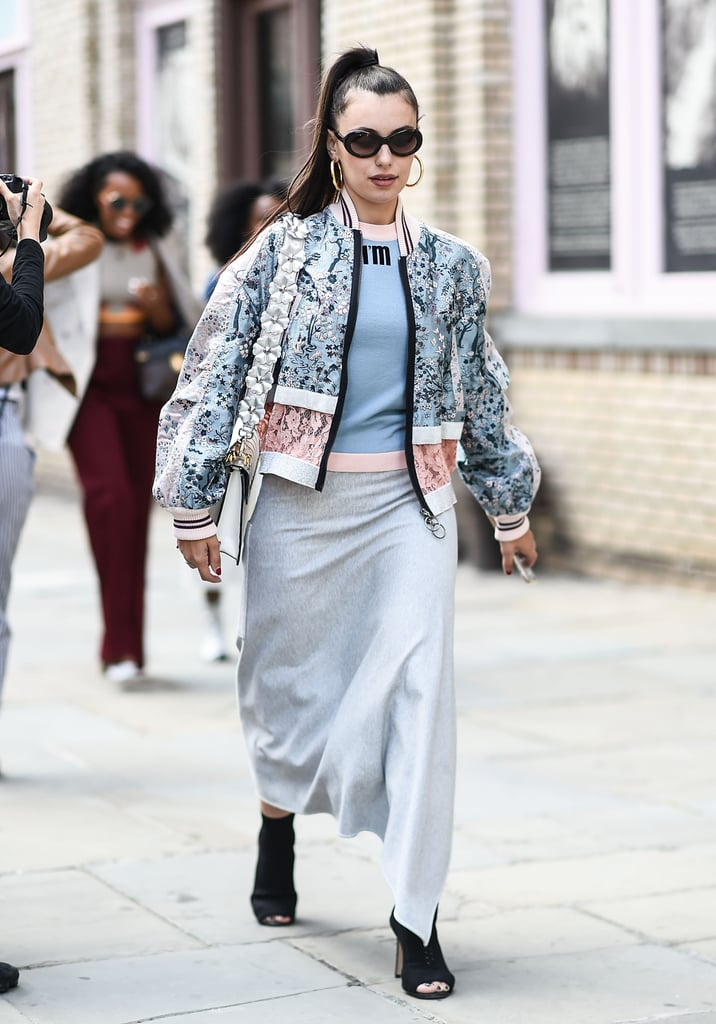 Embrace Spring wholeheartedly with a floral bomber. Pick one in a baby blue hue like this one and style your outfit around it.