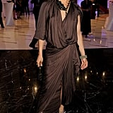 Jennifer Lopez looked moody and divine in a draped brown Lanvin and Sergio Rossi heels at a charity gala in Russia.