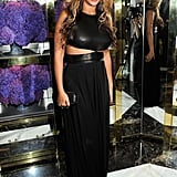 Beyoncé wore a black cutout Michael Kors gown during fashion week.