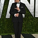 Jeremy Renner joked around when he arrived at the Vanity Fair Oscar party on Sunday night.
