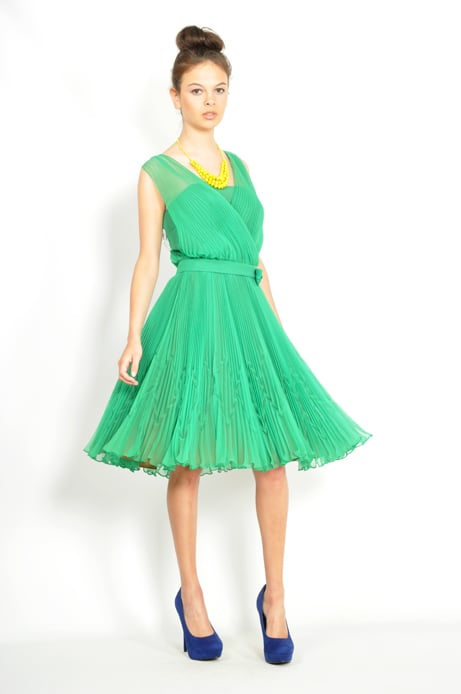 We love the emerald-green hue of this swingy pleated dress — it's a great, colorful staple for Spring.  Thriftwares '70s Pleated Cocktail Dress ($10 starting price)