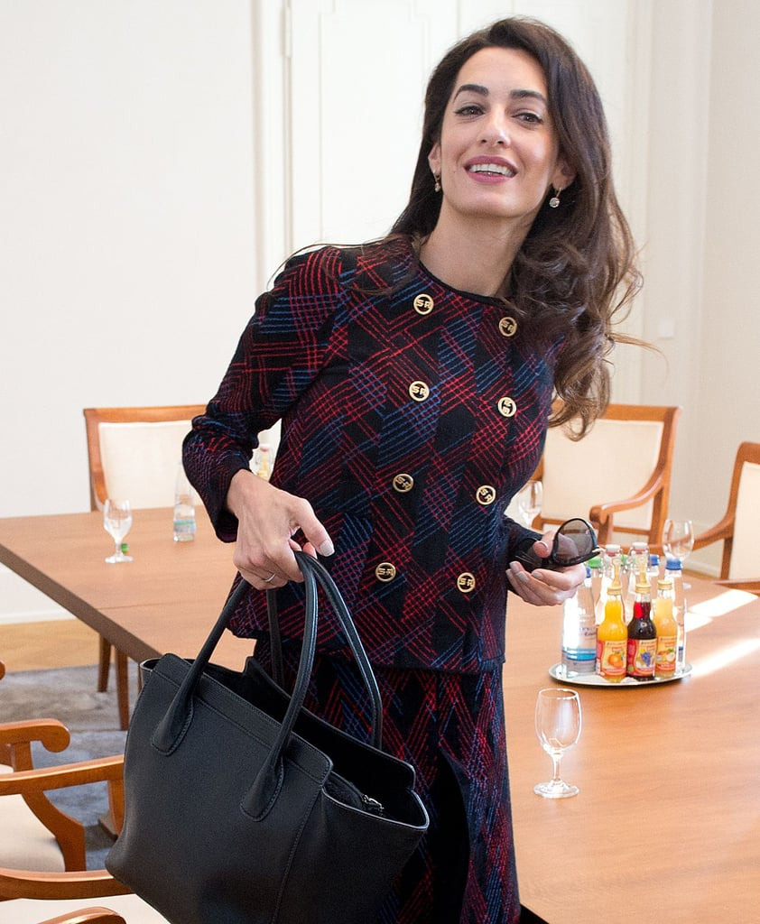 amal clooney sonia rykiel plaid suit september 2016 popsugar fashion. Black Bedroom Furniture Sets. Home Design Ideas