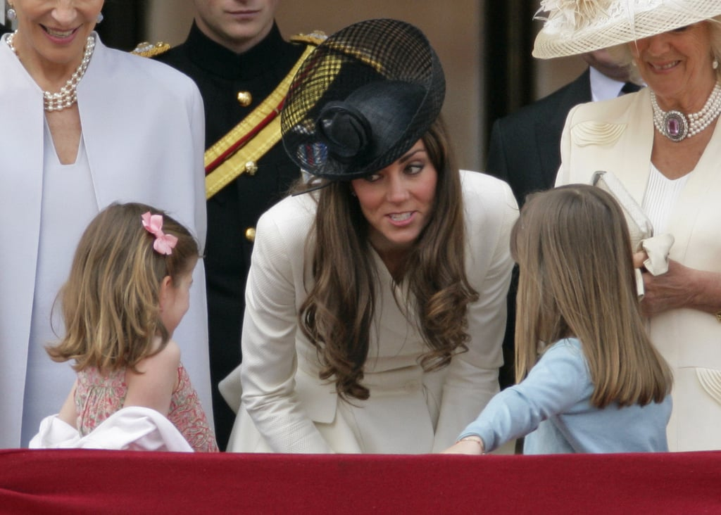 Kate Middleton looked very maternal while talking to two young royals, Estella and Eloise Taylor, at the queen's official birthday parade in London on June 2011. We wonder what she was saying to the little girls!