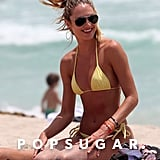 Candice Swanepoel spent Monday at the beach.