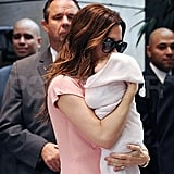 Victoria Beckham and daughter, Harper Seven Beckham, leave their hotel.