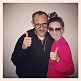 Miranda Kerr gave a thumbs-up during a shoot with Terry Richardson. Source: Instagram user mirandakerrverified