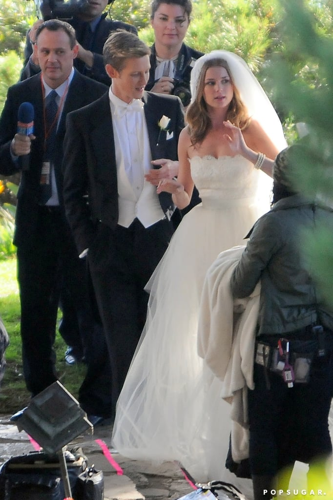 Emily VanCamp filmed a wedding scene with Gabriel Mann on the set of Revenge in LA.