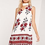 Missguided Floral Print Choker Dress Red ($40)