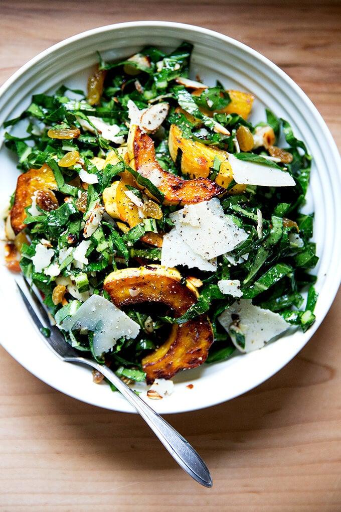 Raw Collard Green Salad with Roasted Delicata Squash, Almonds, & Parmesan