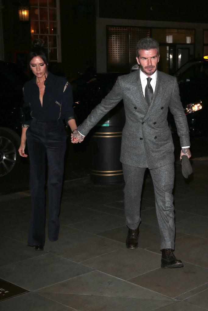 Victoria Beckham Blue Snakeskin Blouse With David Beckham
