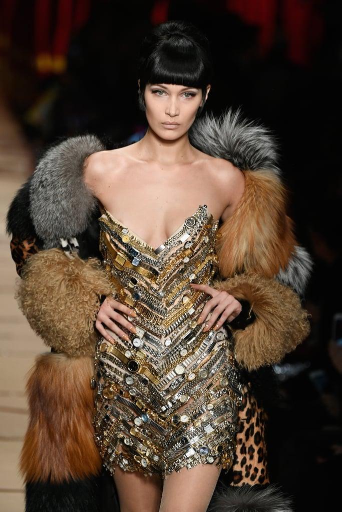 Bella Hadid Walking the Moschino Show During Milan Fashion Week Fall/Winter 2017/18