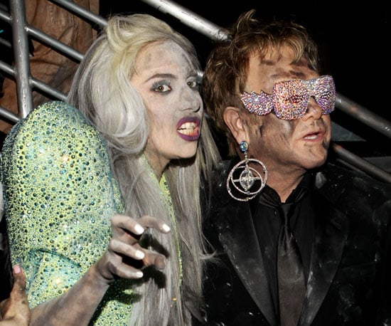 Slide Photo of Lady Gaga and Elton John Together at the Grammy Awards