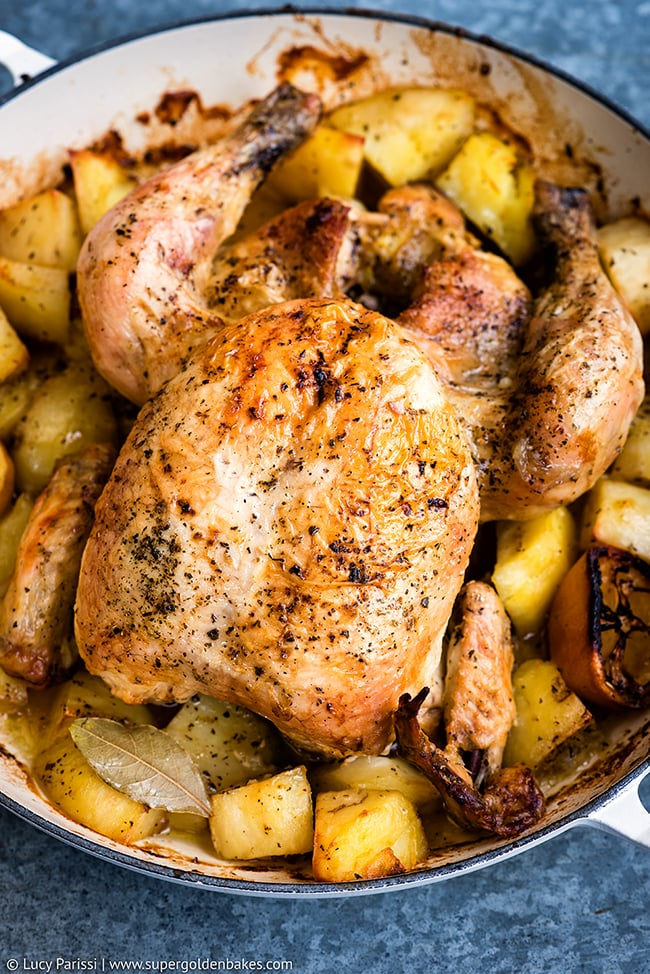1 pot greek oven roasted chicken and potatoes garlicky for Roast chicken uk