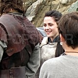 Kristen Stewart laughs on the Welsh set of Snow White and the Huntsman.