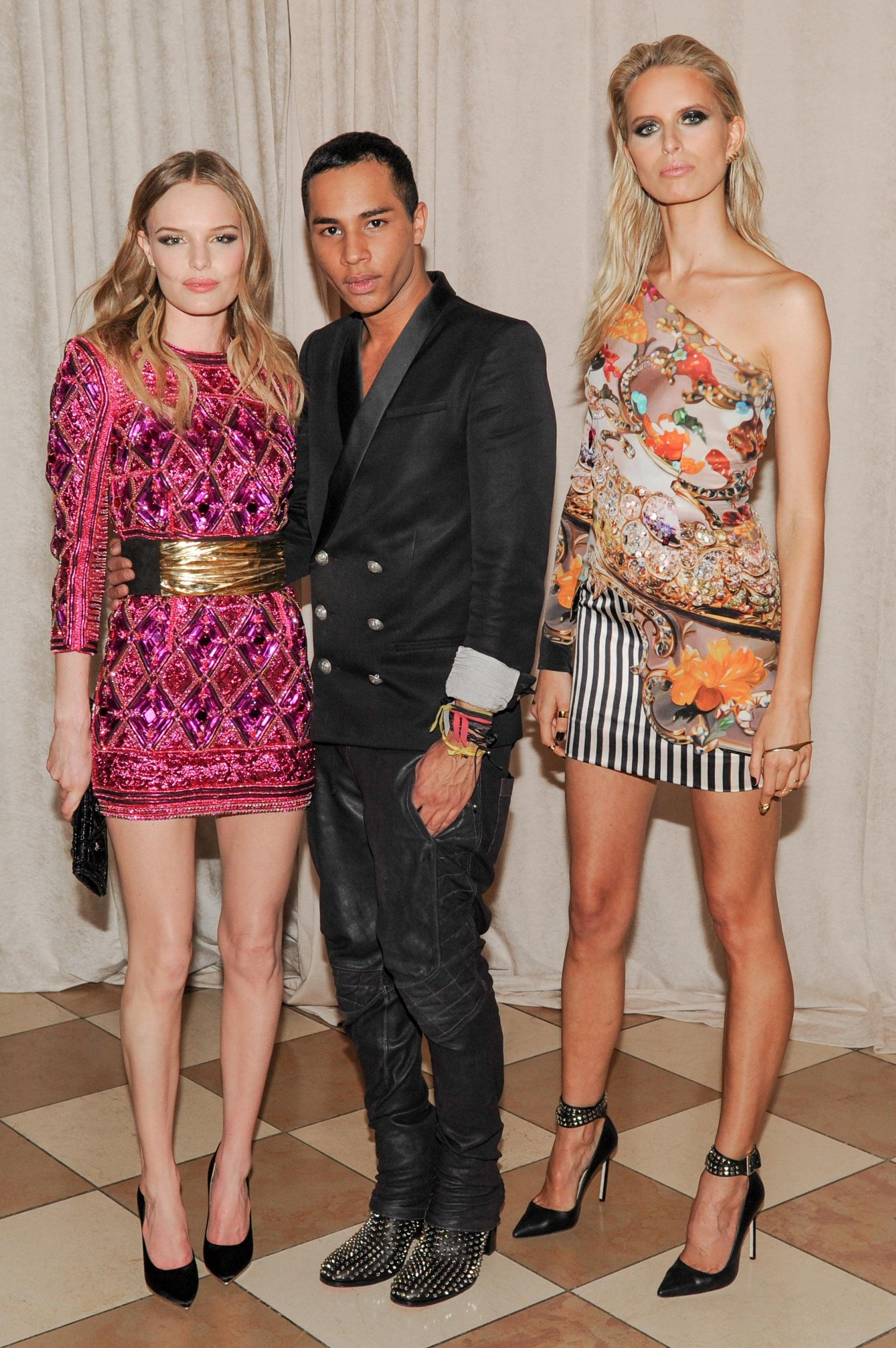 Kate Bosworth and Karolina Kurkova joined designer Olivier Rousteing inside the Met Gala.  Source: Billy Farrell/BFANYC.com