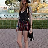 If your festival ensemble is mostly black, printed shorts can go a long way.