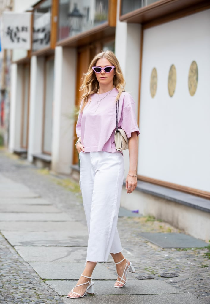 Wear White Culotte Denim With Strappy Sandals and a Breezy Pink T-Shirt